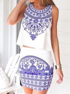 White Tile Print Sleeveless Top With Pencil Mini Skirt is perfect for your next patio party.