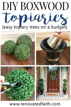 DIY Topiary Trees on a Budget! – Making DIY large outdoor topiary trees is so ea… DIY Topiary Trees on a Budget! – Making DIY. Porch Topiary, Porch Urns, Topiary Decor, Outdoor Topiary, Topiary Trees, Boxwood Topiary, Topiaries, Topiary Centerpieces, Patio Decorating Ideas On A Budget