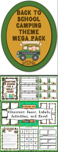 Camping Theme Classroom Back to School Mega Pack - Back to school has never been easier! This pack is loaded with classroom decorations, open house activities, first week of school activities, and a camping themed behavior chart. All labels and letters are available in an EDITABLE format. WOW! $