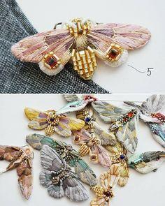 New series: 3 fairies 4 birds 6 butterflies! New series: 3 fairies 4 birds 6 - Hand Embroidery Flowers, Tambour Embroidery, Embroidery Jewelry, Hand Embroidery Patterns, Ribbon Embroidery, Beaded Embroidery, Embroidery Stitches, Embroidered Butterflies, Embroidery Fashion
