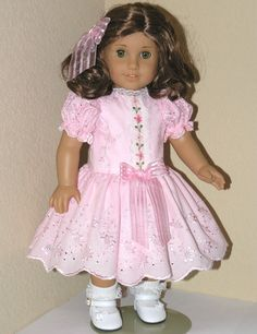 American Girl 18 inch Doll Clothes -  Rebecca - Dress, Pantalettes, Hair Ribbon - Pink Border Eyelet