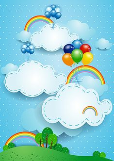 Scrapbook Frames, Baby Scrapbook, Cute Cartoon Wallpapers, Cartoon Pics, Colourful Balloons, Up The Movie, Cartoon Clouds, Page Borders Design, Kids Background