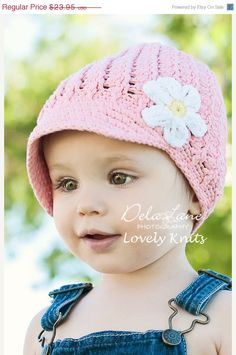 Sale NEW 12T Crochet Visor Beanie With Flower  pink by LovelyKnits, $16.76