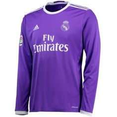 Real Madrid adidas Authentic Away Long Sleeve Jersey - Purple Real Madrid Shirt, Real Madrid Football, Sport Online, Football Shirts, Soccer Jerseys, Jersey Shirt, Shirt Sale, Sport Outfits