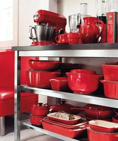 Pots and pans double as artwork when like-colored kitchenware is put on display.