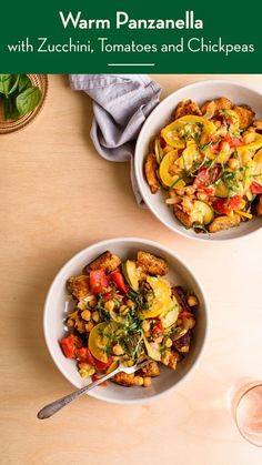 This warm panzanella salad with tomatoes, zucchini, yellow summer squash, and garlicky skillet croutons is a great way to use up stale bread. thenewbaguette.com #panzanella #zucchinirecipes #yellowsummersquash #veganrecipes Healthy Salad Recipes, Vegan Recipes, Italian Diet, Green Zucchini, Stale Bread, Quick Weeknight Meals, Vegetarian Entrees, How To Cook Rice, No Calorie Foods