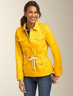 Talbots!  Love the color of this jacket.  Smart topper for daytime or evening.  Sporty look over white top and white pants.