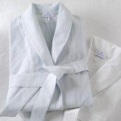 Block Island Seersucker Robe by Matouk  #bedding #homedecor #westportct #interiors #Figlinensandhome #towels #luxurylinens #pillows #figlinenswestport #quilts