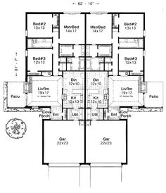European Multi-Family Plan 92291 with 6 Beds, 4 Baths, 2 Car Garage Level One Family House Plans, Best House Plans, Dream House Plans, Small House Plans, Family Homes, The Plan, How To Plan, Duplex Floor Plans, One Level Homes