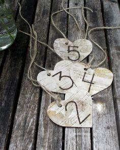 Birch Heart Table Numbers Rustic Birch Heart by BirchHouseMarket, $32.50