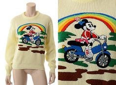 Rare vintage 1980s Minnie Mouse novelty 3-D graphic knit sweater.  Oh someone please find this bad girl in my size!!!