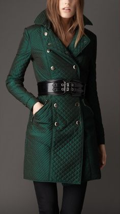 Burberry trench and patent corset belt <3