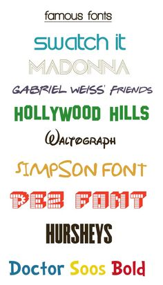 Famous Free Fonts .......