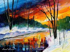 Winter Sunset by L. Afremov