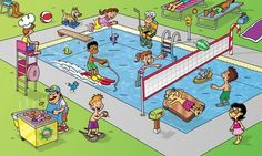 Practice verb tenses with this swimming pool illustration. Writing Pictures, Picture Writing Prompts, Silly Pictures, Inference Pictures, Speech Therapy Activities, Language Activities, Speech Language Pathology, Speech And Language, English Fun