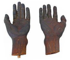 Fantastically carved and extremely detailed wooden hands from an early 20th Century mannequin.