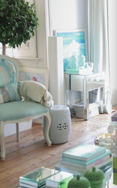 Living room with aqua accents