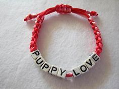 Puppy Love Customized Red Pink Hand Braided Adjustable Bracelet !