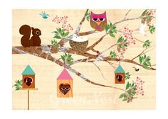 Spring tree with cute forest friends collage poster print on wooden background 14$