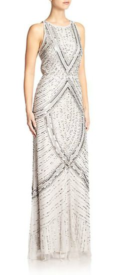 Aidan Mattox | Beaded Halter Gown | SAKS OFF 5TH