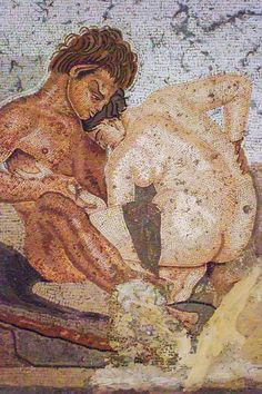 Mosaic of a satyr & nymph found in a bedroom. House of the Faun in Pompeii. 1st c. BC-1st c. AD