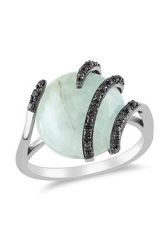 Pave Black Diamond & Milky Aquamarine Round Ring