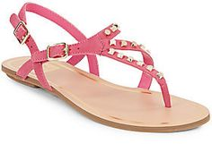 so cute -- Rosario Studded Faux Leather Thong Sandals  -- http://www.hagglekat.com/rosario-studded-faux-leather-thong-sandals/