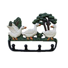 Angel Wings Creative Pastoralism Retro Style Rustic Cast Iron Coat / Towel / Handbag Storage Duck Wall Rack With 4 Hooks