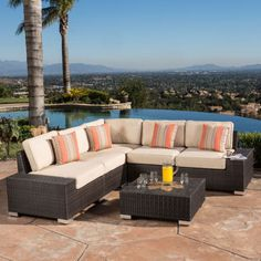 1500 costco Belize 6-Piece Sectional Set with Square Table