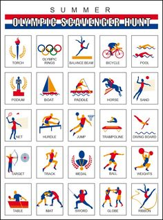 Print out a Summer Olympics Scavenger Hunt for each of the kids and see the excitement build as they look forward to all the events. You can use the Olympi Summer Camp Themes, Summer Camp Activities, Fun Activities For Kids, 2020 Summer Olympics, Kids Olympics, Christmas Scavenger Hunt, Scavenger Hunt For Kids, Olympic Crafts, Olympic Games