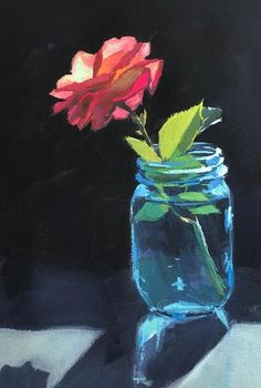 A Single Rose- Original Gouache Painting - - Soft Pastel Art, Pastel Artwork, Oil Pastel Paintings, Oil Pastel Drawings, Art Drawings, Diy Canvas Art, Acrylic Painting Canvas, Gouache Painting, Easy Flower Painting
