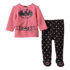 Baby Girl Batgirl Cardigan & Footed Leggings Set