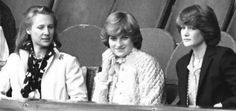 July 3, 1981: Lady Diana Spencer with her sister Lady Sarah and the Duchess of Gloucester on the left at Wimbledon.