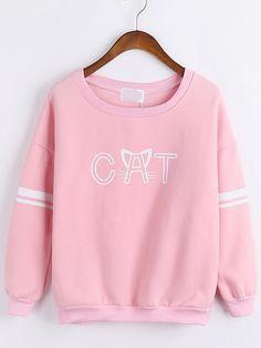 Letter Print Loose Pink Sweatshirt-Romwe