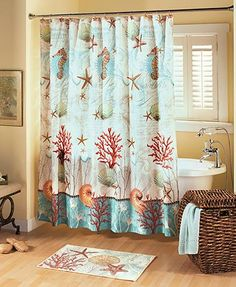 The Barbados Bathroom Collection turns your space into a beautiful paradise. Begin your coordinated look with the polyester Shower Curtain sq. hang it with the Set of 12 Shower Hooks (approx. The plush nylon Rug measures Bathroom Towel Decor, Beach Theme Bathroom, Tropical Bathroom, Beach Bathrooms, Small Bathroom Storage, Bath Decor, Bathroom Sets, Seaside Bathroom, Seaside Decor