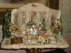Antique German Christmas House w Cotton Snow Christmas Room, German Christmas, Old Fashioned Christmas, Miniature Christmas, Christmas Past, All Things Christmas, Christmas Holidays, Christmas Crafts, Christmas Decorations