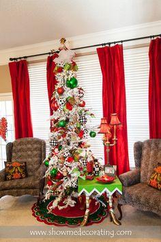 Christmas tree.  Bold black, red and green make this Christmas tree amazing.
