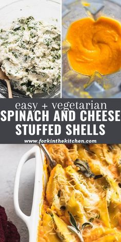 Cozy up with a plate full of Cheesy Stuffed Shells with Butternut Squash Sauce and Crispy Sage ASAP. This vegetarian dinner is easy to make, filling, and full of flavor, with a homemade butternut squash sauce and jumbo shells filled with a hearty ricotta and spinach mixture. Spinach Ricotta, Spinach And Cheese, Pasta Recipes, Dinner Recipes, Dinner Ideas, Butternut Squash Pasta Sauce, Spinach Stuffed Shells, Traditional Thanksgiving Recipes, Pasta Dishes