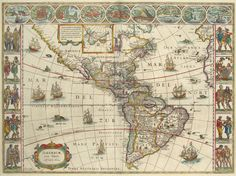 Antique map of America by Blaeu free to print