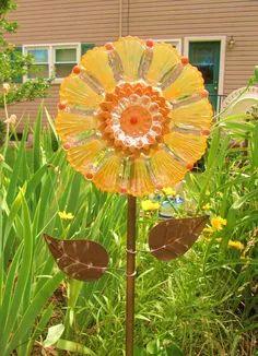 Garden art, vintage glass flower, plate flower, yard art, upcycled ...