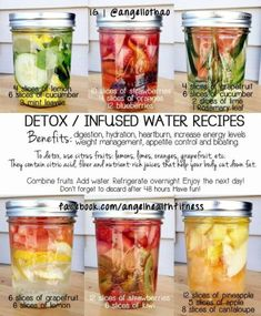 DETOX/INFUSED WATER RECIPES⁑ 1) lemon, cucumber & mint. 2) strawberries, oranges & blueberries. 3) grapefruit, cucumber, lime & rosemary. 4) grapefruit & lemon. 5) strawberries & kiwi. 6) pineapple, apple & cantaloupe. *Combine fruits, add water, refrigerate overnight & enjoy next day. Discard after 48 hours.: #LiverDetoxBreakfast