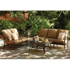 Attractive Thomasville, Messina 4 Piece Patio Sectional Seating Set With Cocoa  Cushions, FG