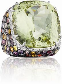 MARGHERITA BURGENER  A Heliodor, Diamond and Multi-Color Sapphire Ring