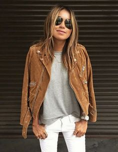 AUTUMN STYLE: A casual way to wear your suede jacket - add a grey tee an white skinny jeans with slip on sneakers for a casual day time look.