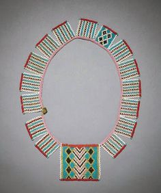 Africa | Necklace from the Zulu people of South Africa | Glass beads, brass, sinew | Early 20th century | Price on request: