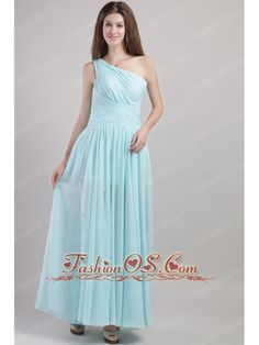 Light Blue Empire One Shoulder Ankle-length Chiffon Ruch Prom Dress  http://www.fashionos.com  http://www.facebook.com/fashionos.us  This pretty blue one shoulder prom dress is featured with ruched bodice and the ruched bands criss corssed at the waist.And the one layer chiifon gives a dreamlike feel. A lovely dress for your special date.