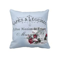 French Cafe Vintage Typography Throw Pillows