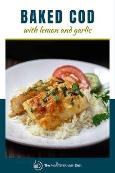 This Baked Cod recipe is amazing! Comes together easily and is packed with amazing flavors, makes an easy weeknight dinner for the whole family to enjoy! Baked Cod Recipes, Fish Recipes, Easy Weeknight Dinners, Easy Meals, Cod Recipe Lemon, Food Dishes, Main Dishes, Mediterranean Dishes, Baked Fish