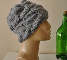 Knit hat Gray beanie Beret Cloche hat Knit by BouquetSpecialDesign, $35.00