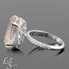 Filigree Ring, Morganite Engagement Ring, Peach Morganite Engagement Ring, Morganite Ring, Diamond Halo Rings, Statement Rings, White Gold Engagement Rings...